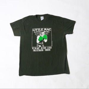 Dark green distressed little mac tee